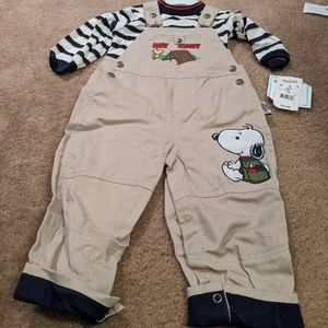Camp baby Snoopy overalls